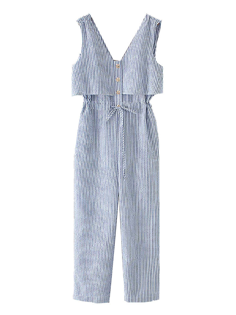 'Gem' Striped Button Front Drawstring Jumpsuit