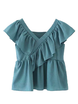 'Pauline' Ruffled Frill V-Neck Top (3 Colors)