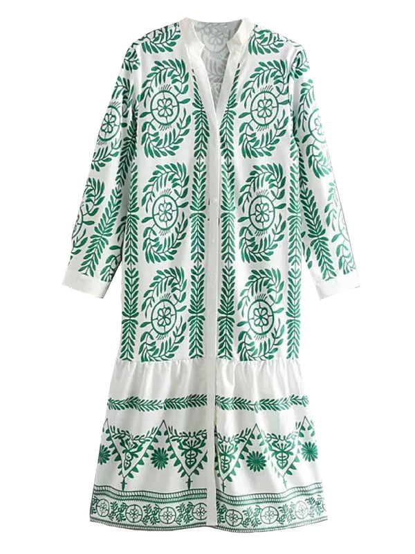 'Nikka' Bohemian Embroidery Pattern Button Down Dress (2 Colors)