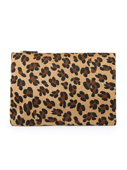 'Oli' Leopard Print Faux Fur Clutch (2 Sizes)
