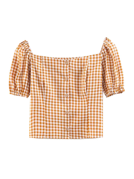 'gail' Gingham Milkmaid Top by Goodnight Macaroon