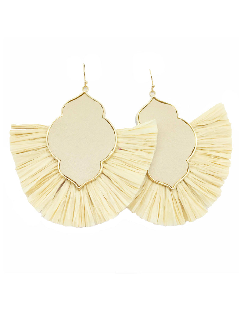 'Kaimana' Raffia Tassels Statment Earrings (9 Colors)