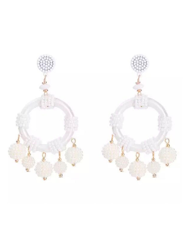 'Kelly' Bohemian Beaded Hoop Drop Earrings (4 Colors)