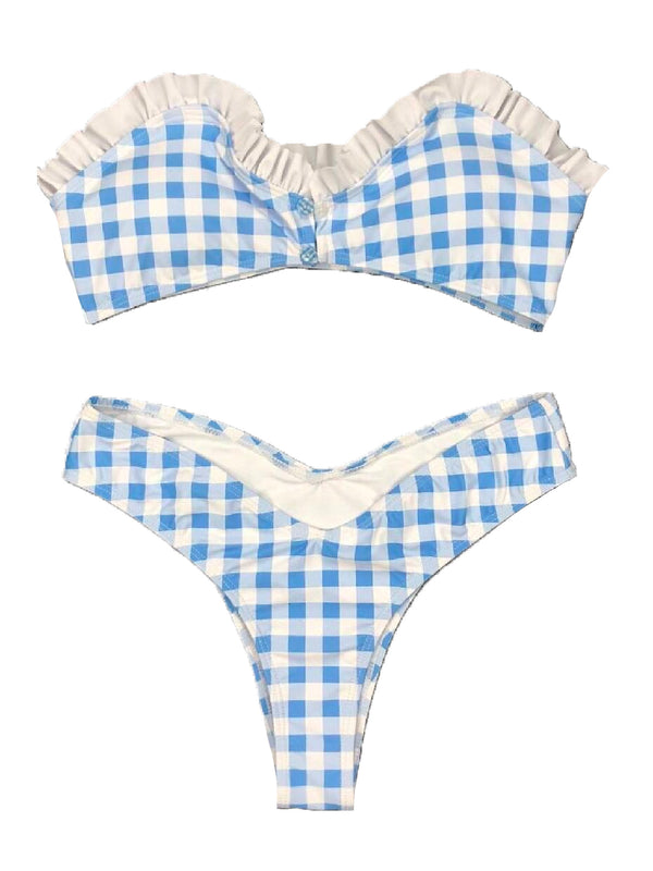 'Shontelle' Gingham Ruffled Bikini Set
