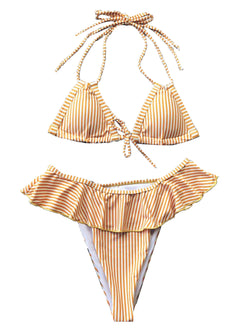 'Jordin' Striped Ruffled Bikini Set