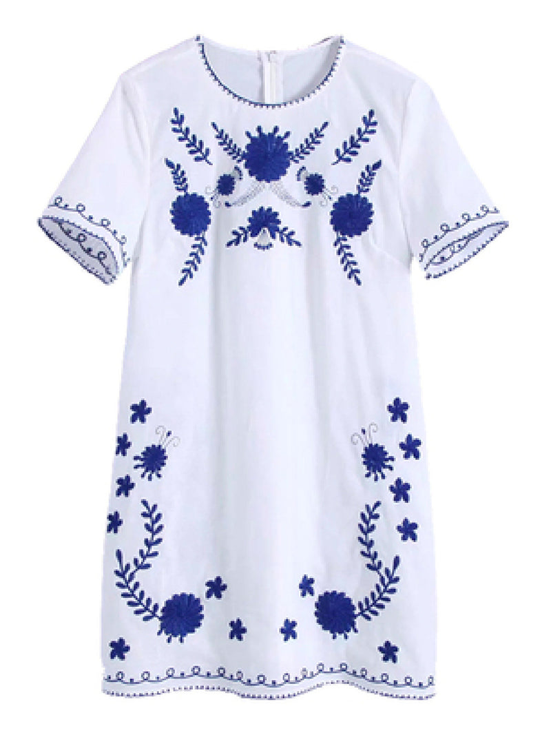 'Aash' Embroidered Mini Dress (2 Colors)