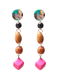 'Colbie' Gemstone Beads Drop Earrings
