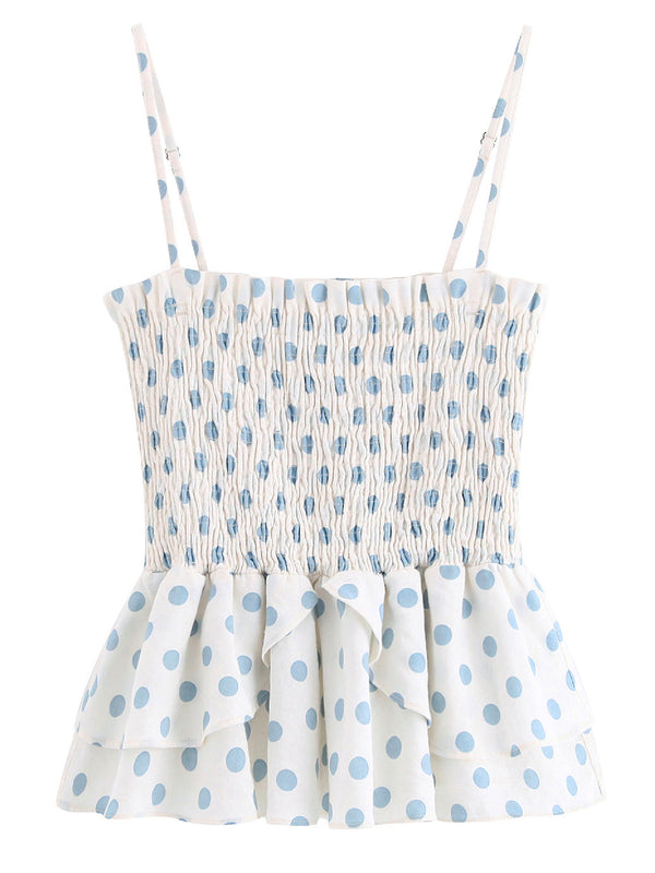 'May' Polka Dot Ruched Strap Top