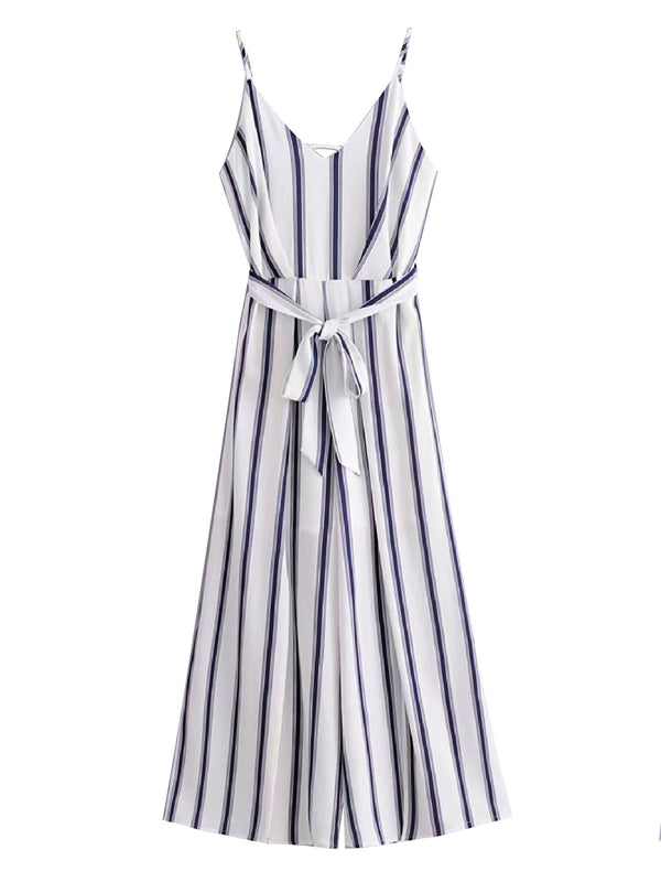 'Trane' Striped Tied Waist Strap Jumpsuit