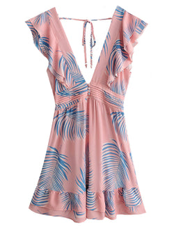'Rie' Palm Print Ruffled Open Front Mini Dress