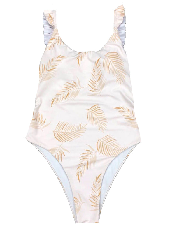 5a8ca7452af48 ... Palm Print Ruffled Strap One Piece Swimsuit · '