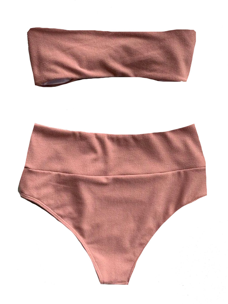 'Lupa' Tied Front High Waist Bikini Set