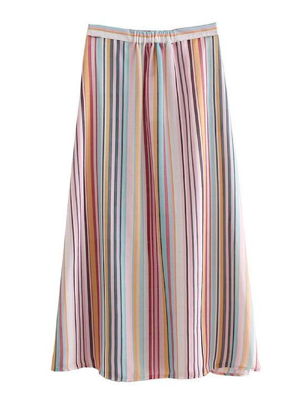 'Rico' Rainbow Striped Button Front Skirt