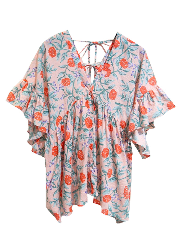 'Cassa' Floral Frilled Sleeve Top (2 Colors)