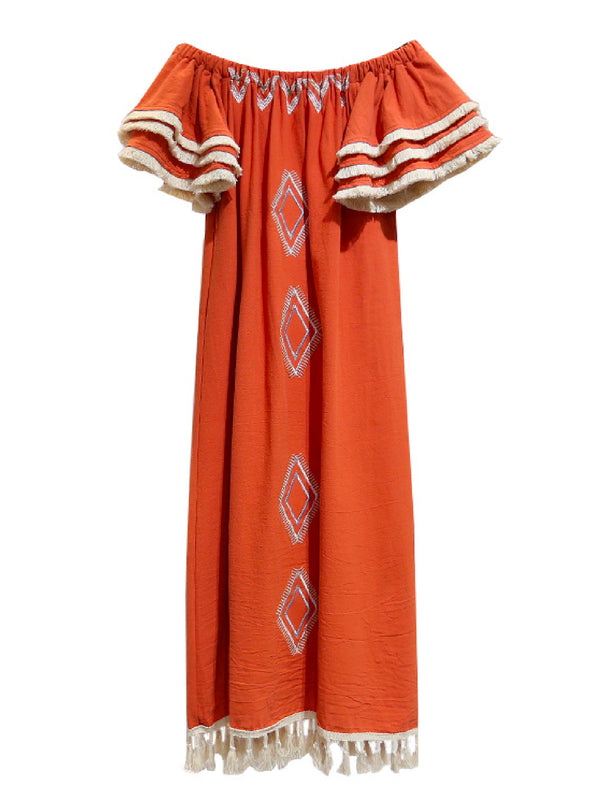 'Min' Off The Shoulder Tassels Boho Dress (2 Colors)