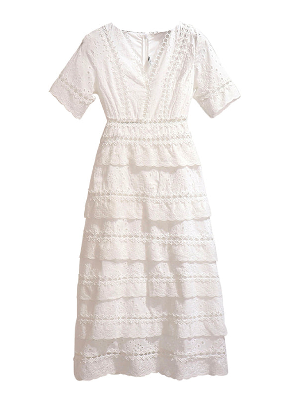 'Kasha' Eyelet Ruffled Midi Dress