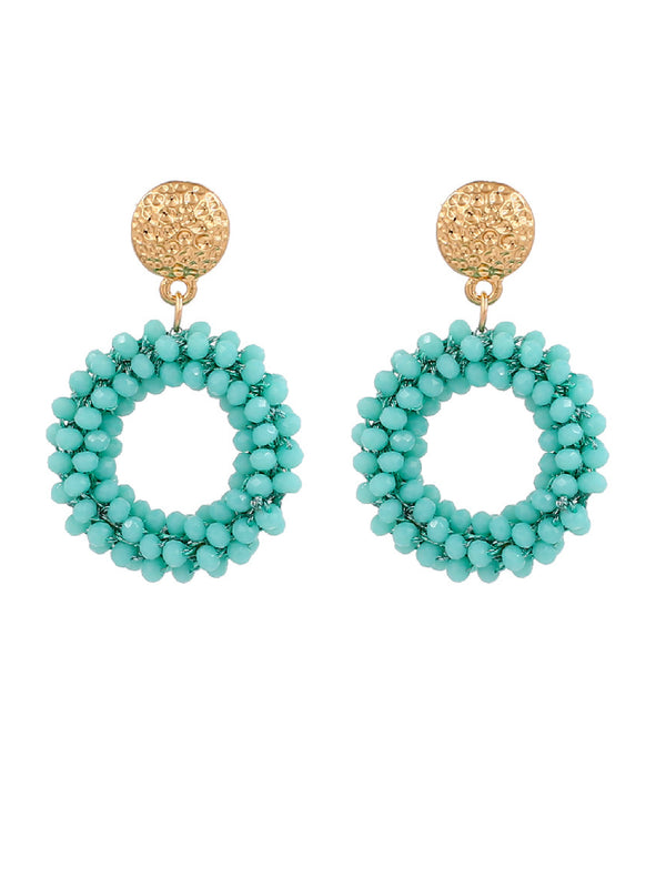 'Bowie' Handmade Bead Embellished Hoop Drop Earrings (10 Colors)