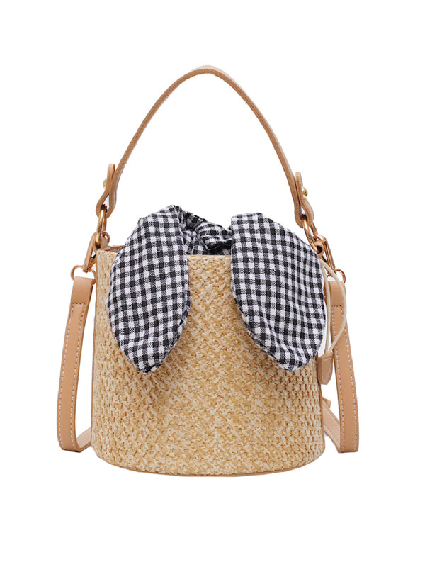 'Posie' Gingham Lining Rattan Bucket Bag (2 Colors)