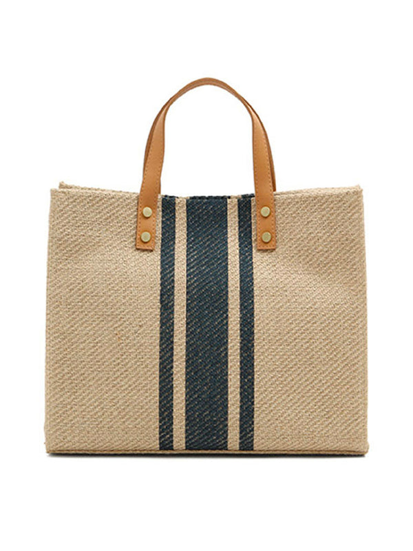 'Cella' Striped Canvas Tote Bag