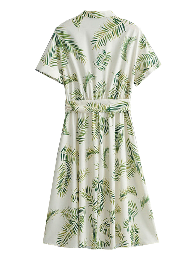 'Emilie' Palm Print Tied Waist Shirt Dress