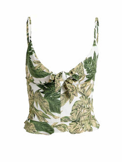 'Balay' Palm Print Tied Front Top