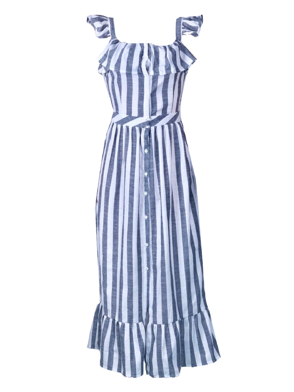 'Mindy' Striped Frilled Maxi Dress