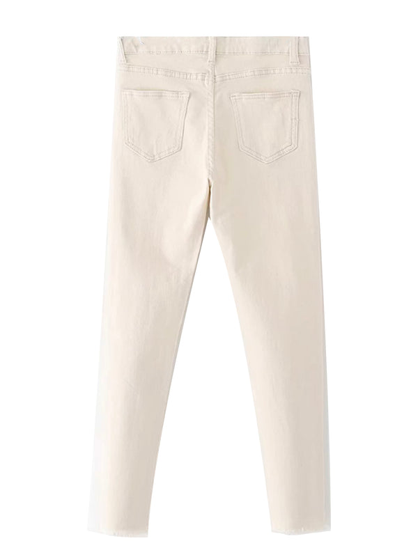 'Christina' Off White Raw Hem Skinny Jeans