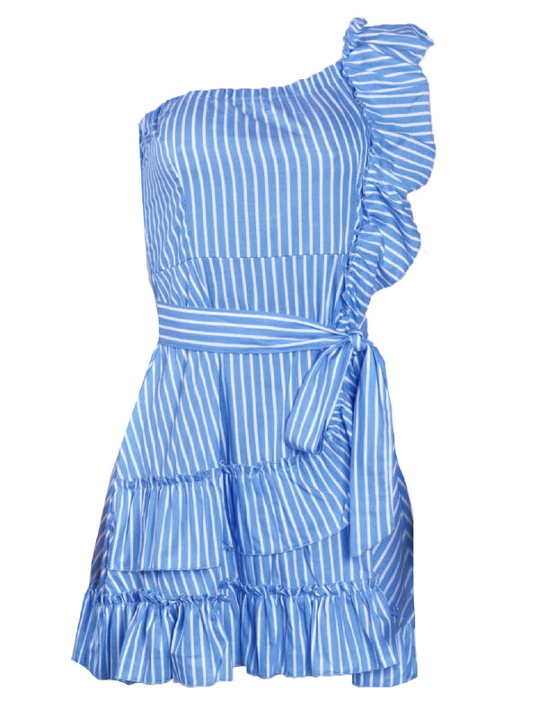 'Khan' Striped One Shoulder Ruffled Dress