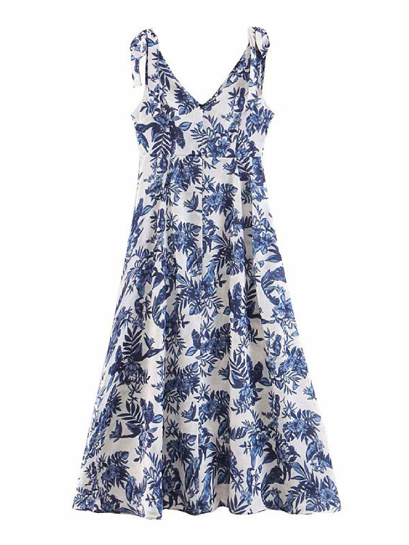 'Perry' Tropical Print Floral Midi Dress