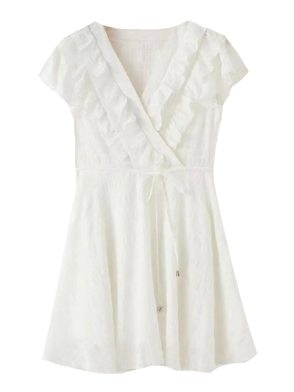 'Dobie' Ruffled Tied Waist Mini Dress (2 Colors)
