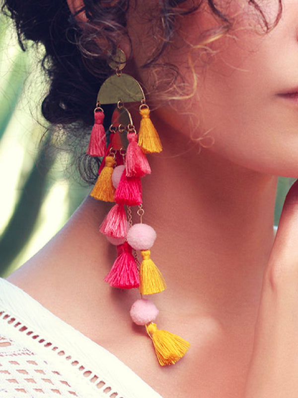 'Invia' Tassels Statement Earrings (2 Colors)