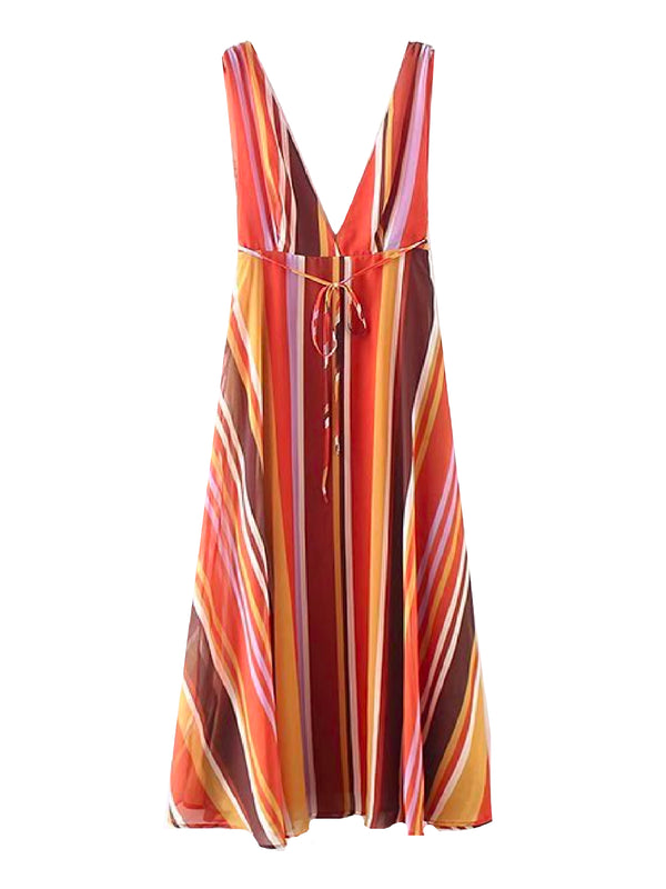 'Yonda' Vertical Striped V-Neck Dress