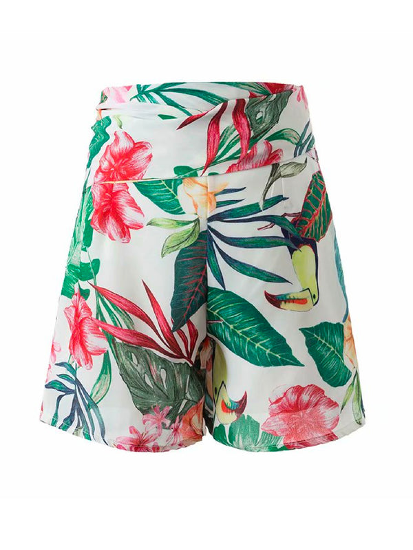 'Rexon' Tropical Print Paper Bag Shorts