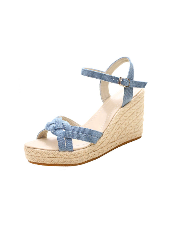 'Stacy' Denim Strap Wedge Sandals (2 Colors)