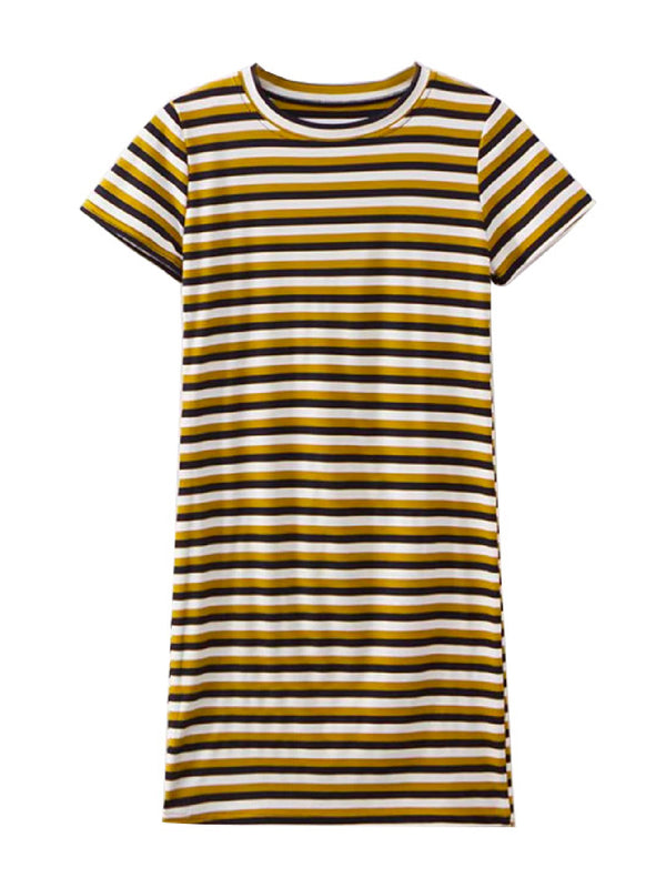 'Stephy' Striped Crewneck Ribbed Dress (3 Colors)