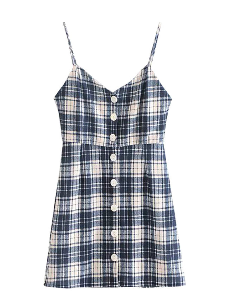 'Lowie' Plaid Print Button Front Strap Dress