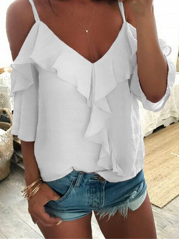 'Kody' Cold Shoulder Ruffled Top (3 Colors)
