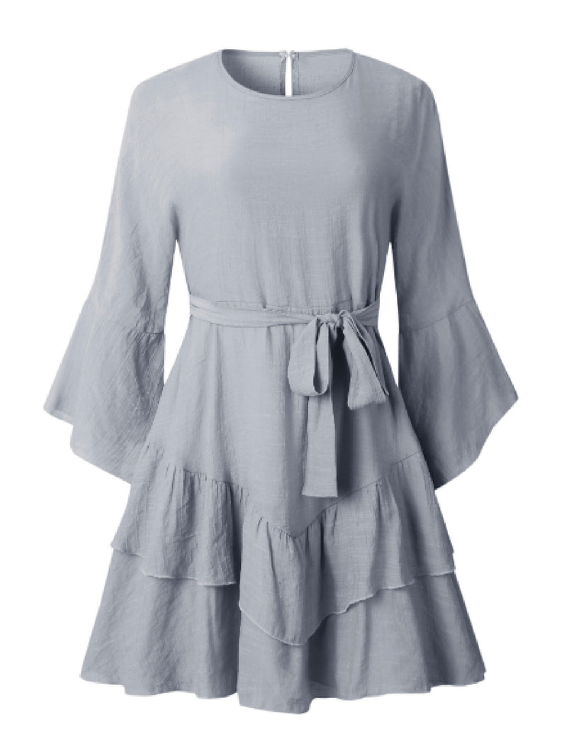 'Wanola' Tied Waist Ruffled Dress (4 Colors)