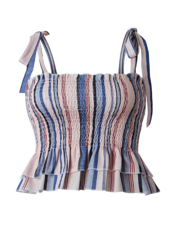 'Rio' Striped Tied Straps Ruched Top (2 Colors)