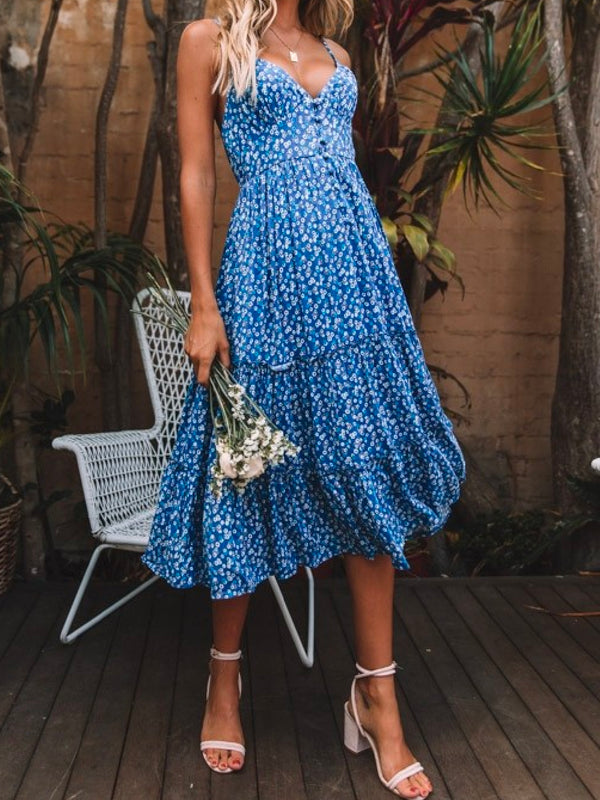 'Anina' Floral Button Front Midi Dress