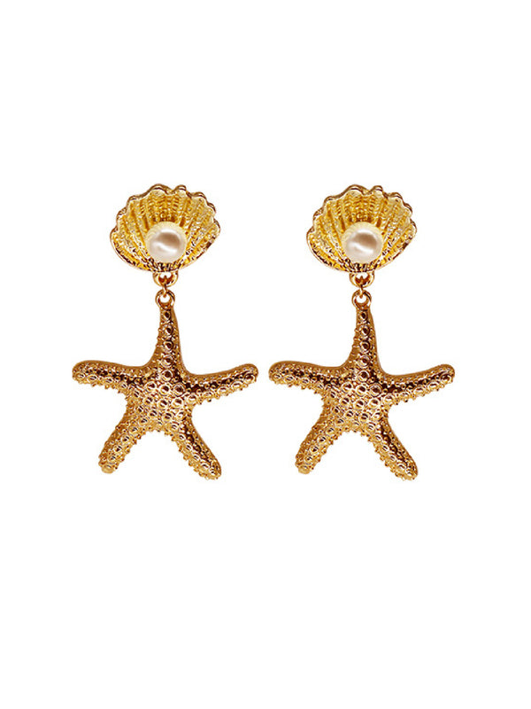 'Yoyo' Starfish Shell Pearl Drop Earrings