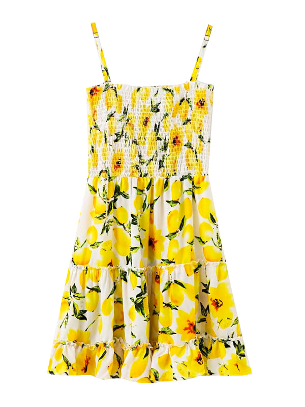 'Cisy' Lemon Print Mini Dress