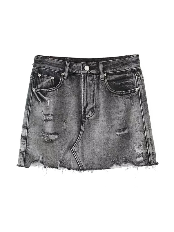 'Fillie' Distressed Denim Skirt (2 Colors)