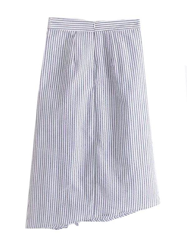 'Lanna' Striped Seersucker Ruffled Skirt