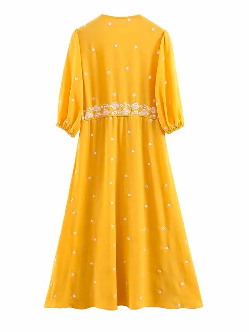 'Sabo' Embroidered Boho Dress