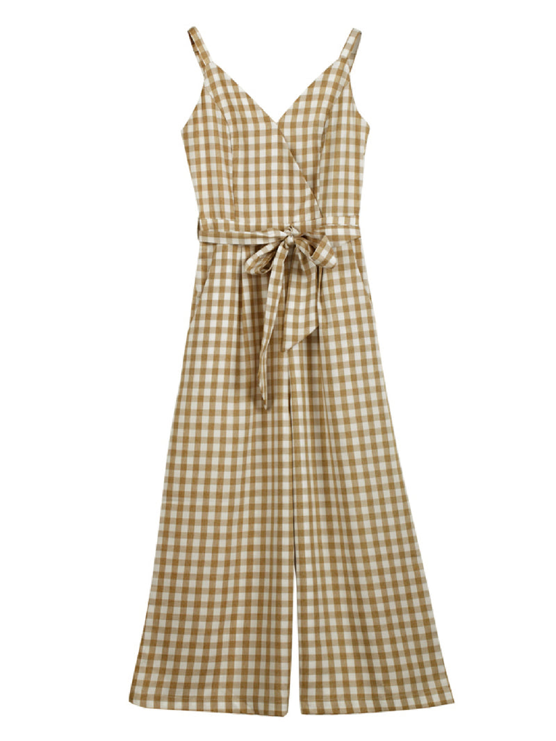 'Alada' Gingham Tied Waist Jumpsuit (2 Colors)