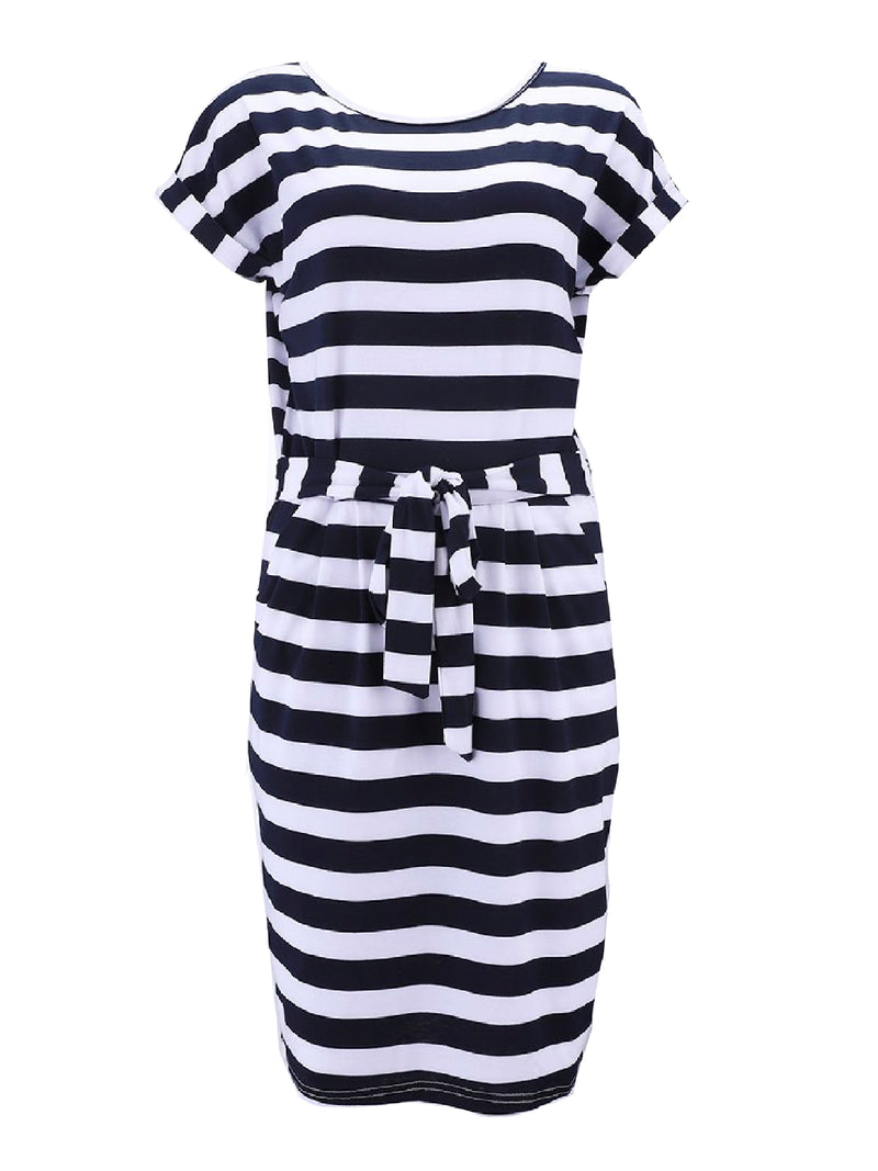'Twinkie' Striped Tied Waist Jersey Dress (3 Colors)