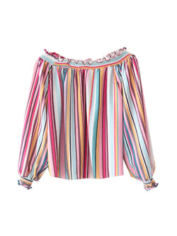 'Sannia' Rainbow Striped Off The Shoulder Top