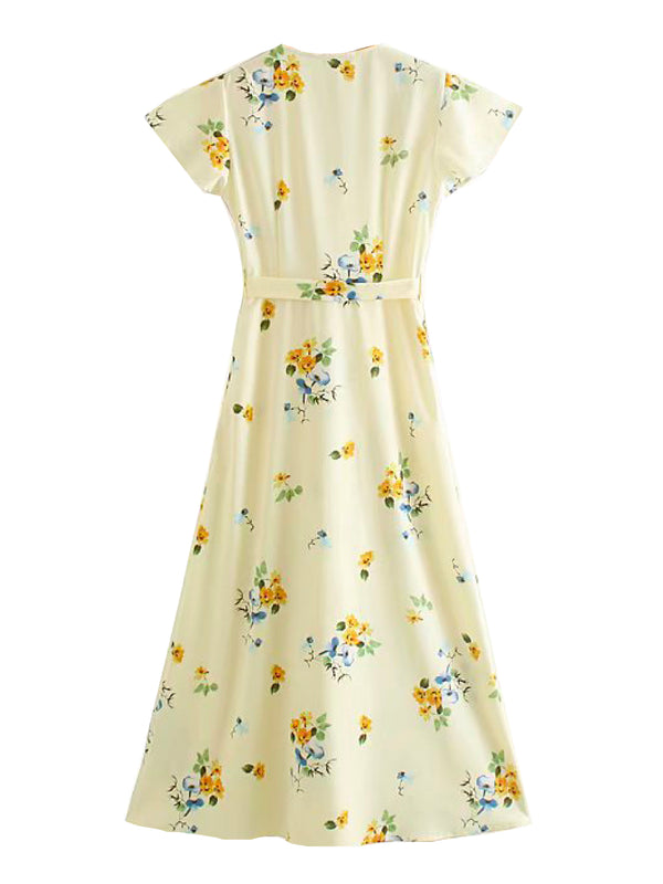 'Bruna' Floral Cap Sleeve Wrap Dress