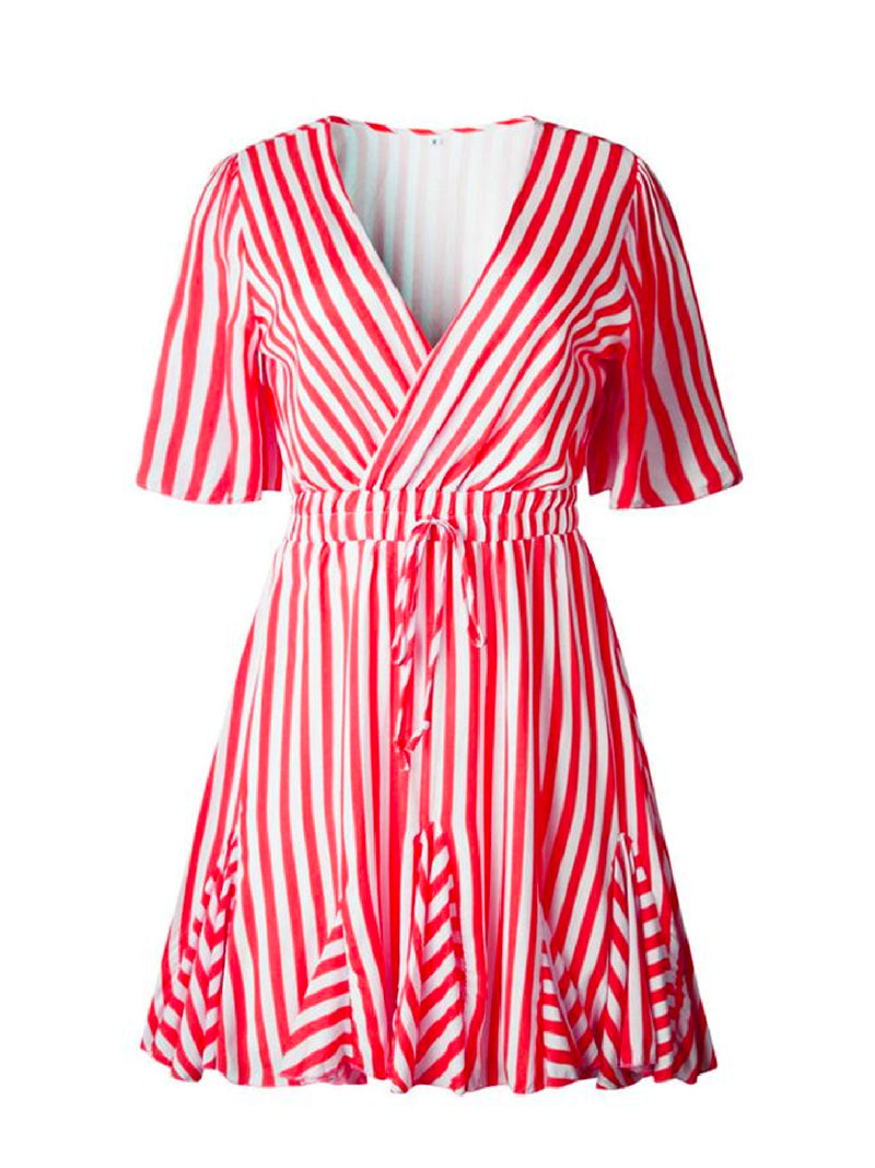 'Neom' Striped Wrap Mini Dress (6 Colors)
